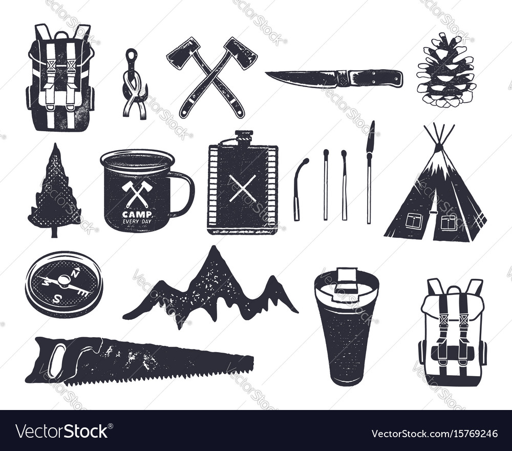Vintage hand drawn adventure hiking camping vector image
