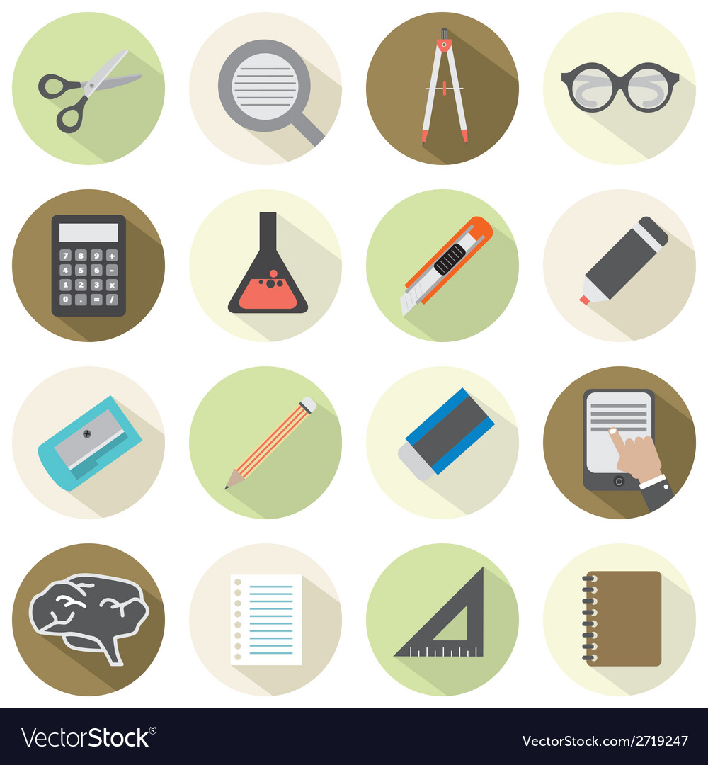 Modern Flat Design Education Icons vector image