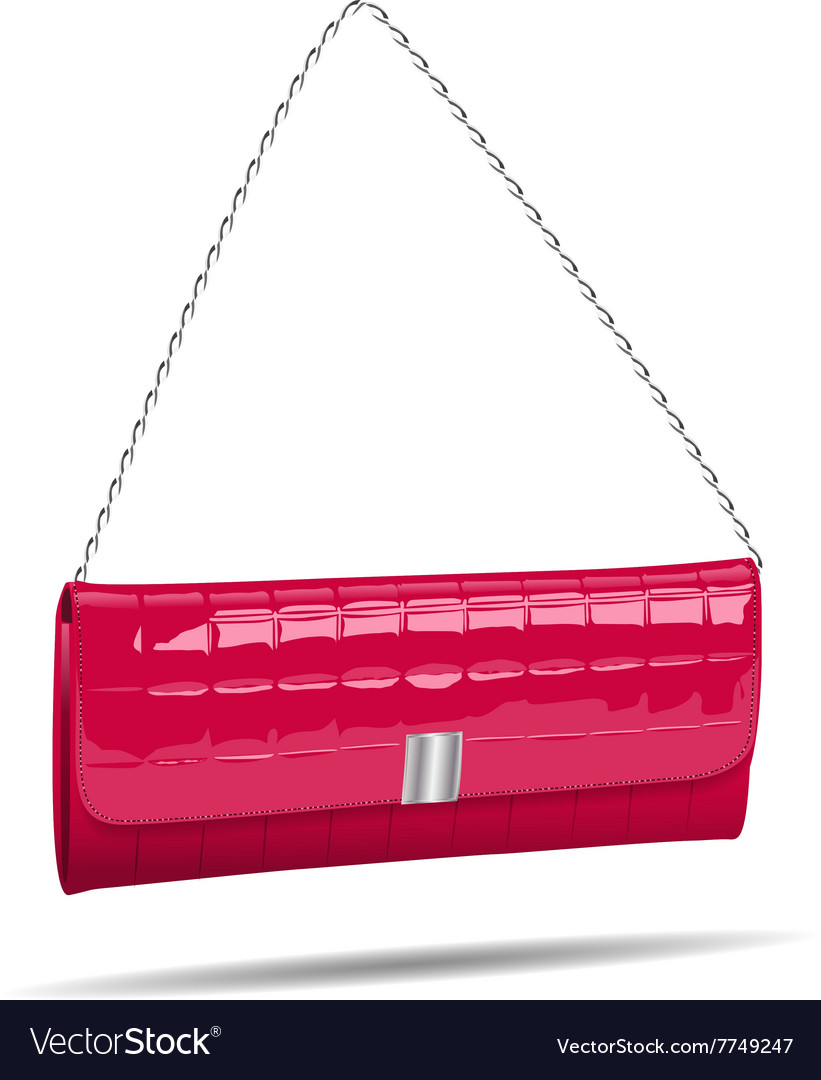 Pink women bag isolated on white photo-realistic vector image