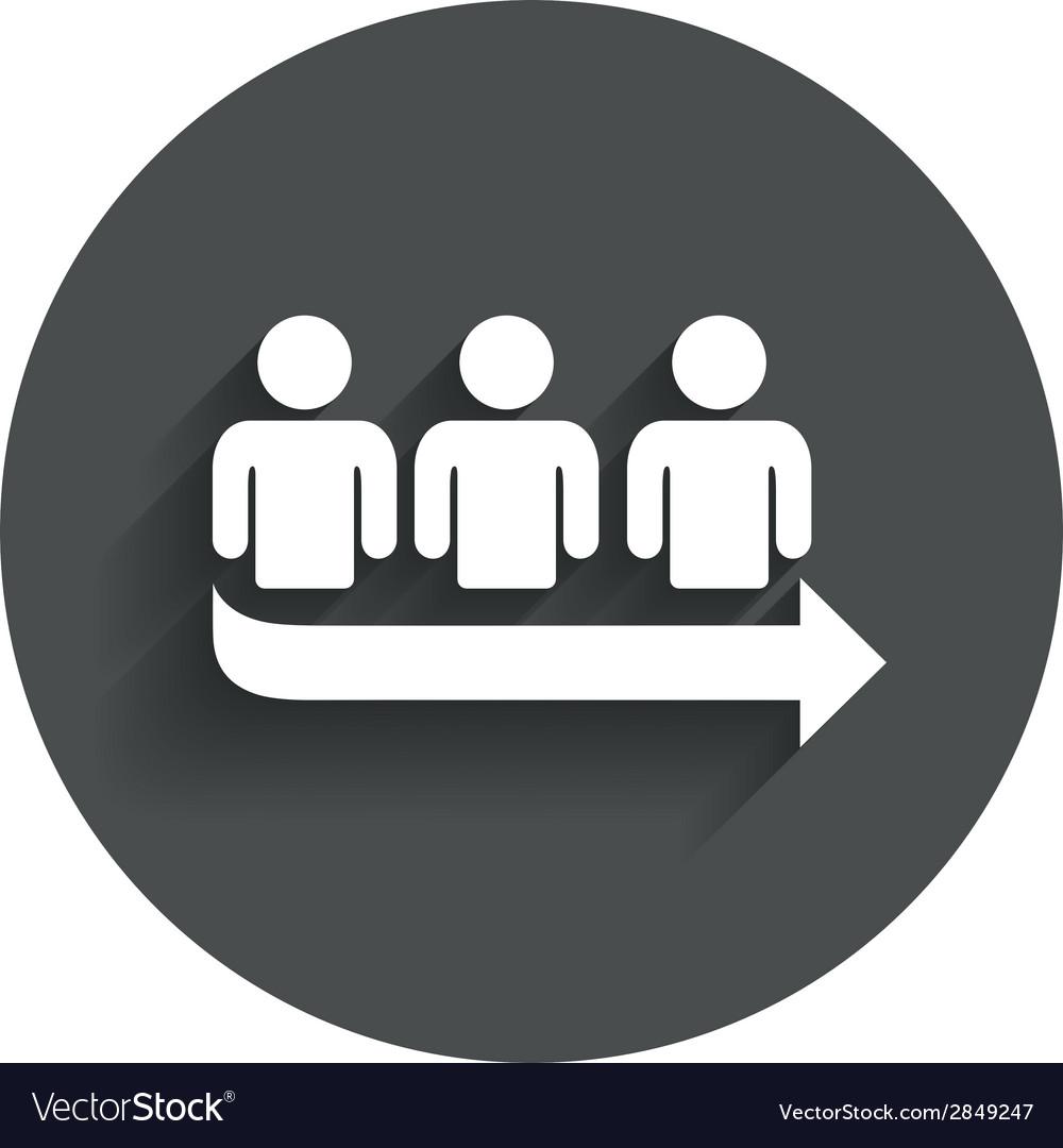 Queue sign icon Long turn symbol vector image