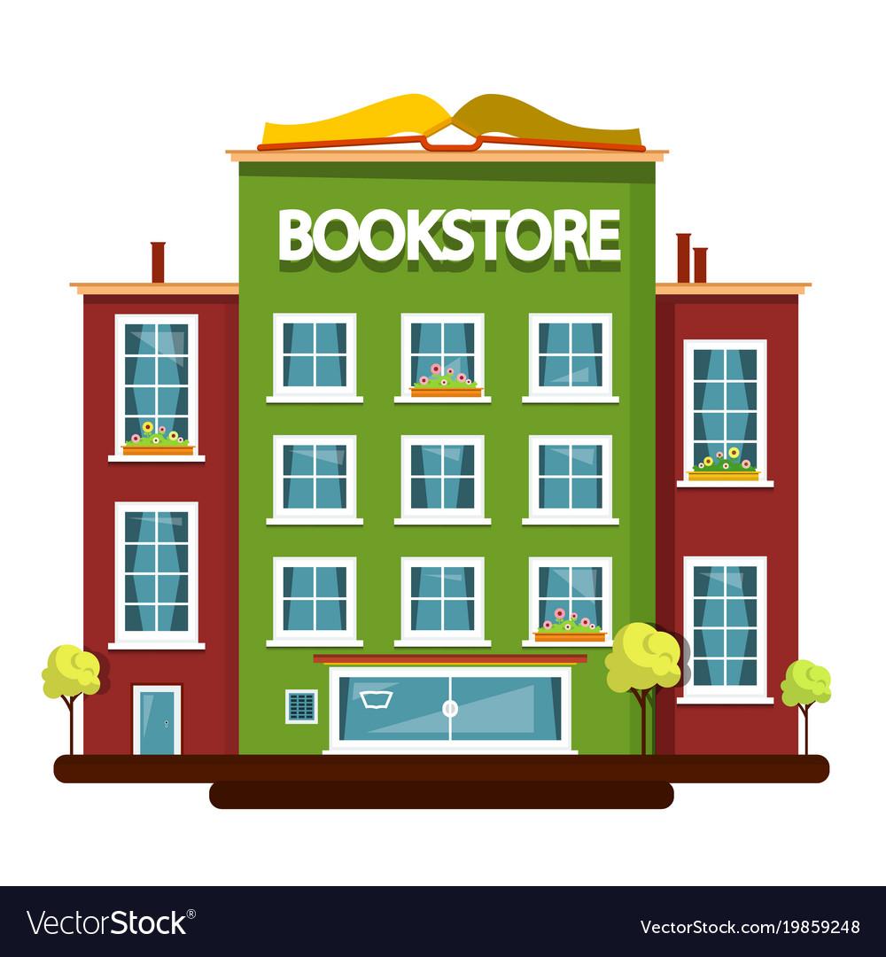 Bookstore building flat design vector image