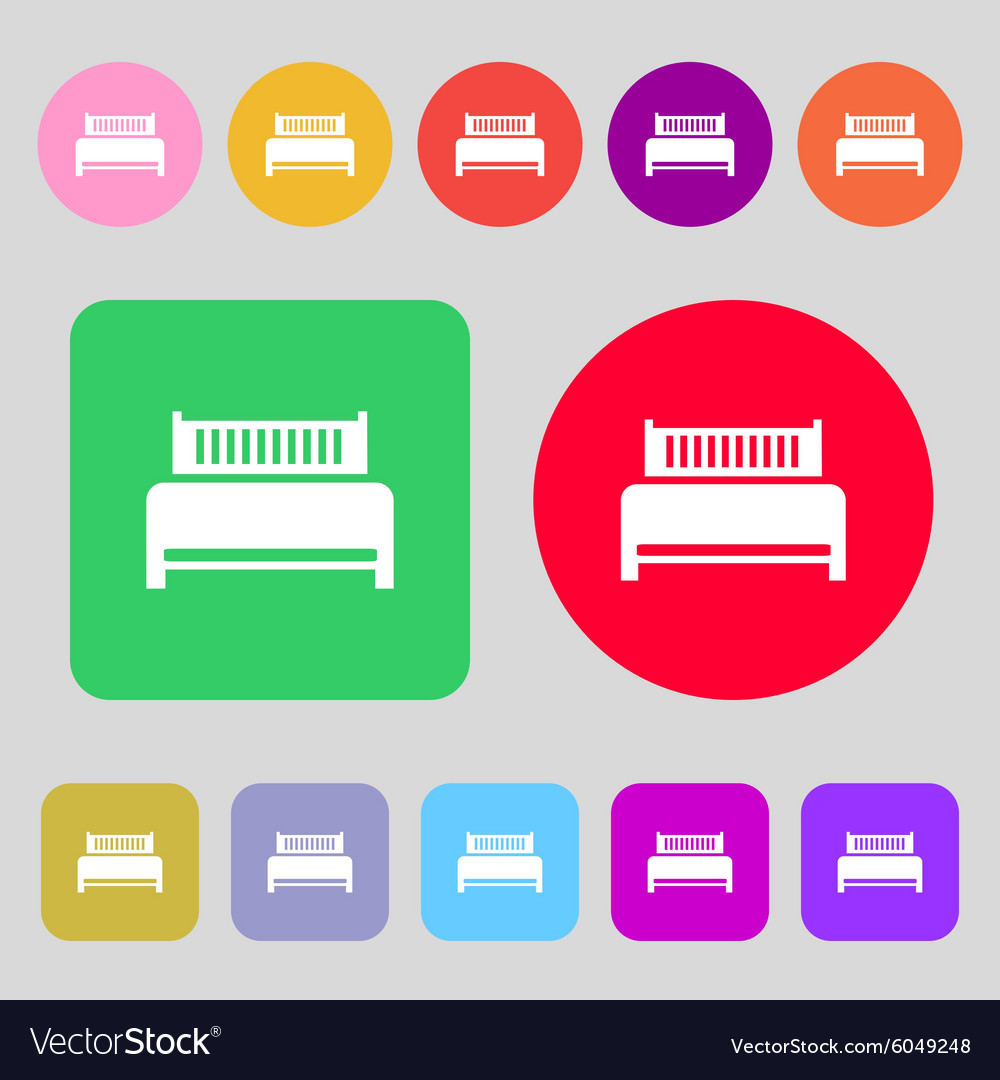 Hotel bed icon sign 12 colored buttons Flat design vector image