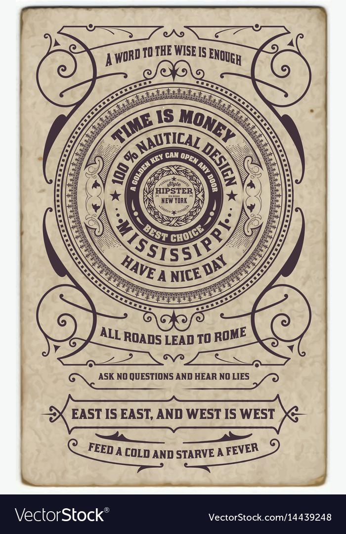 Label design antique frame vintage border vector image