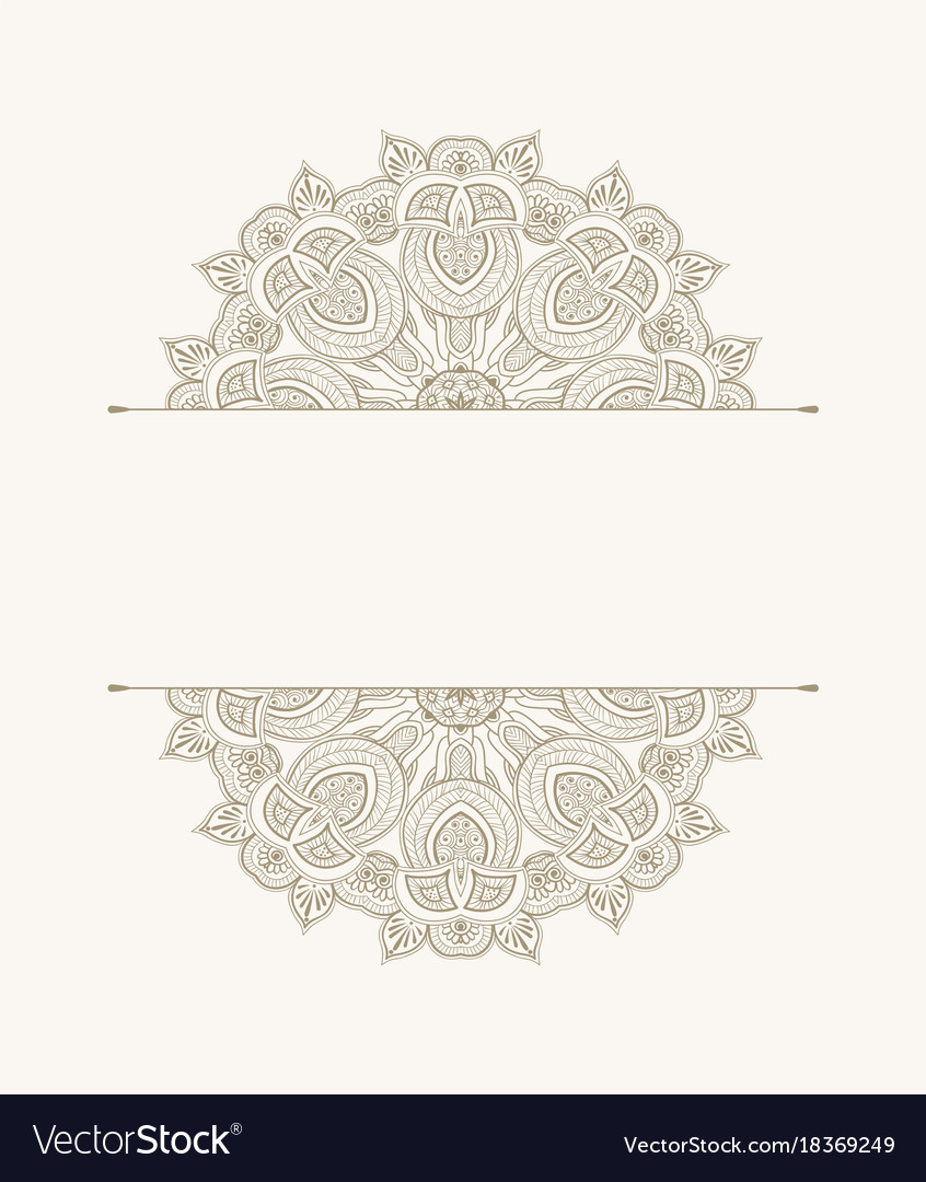Template of greeting card floral ethnic pattern vector image
