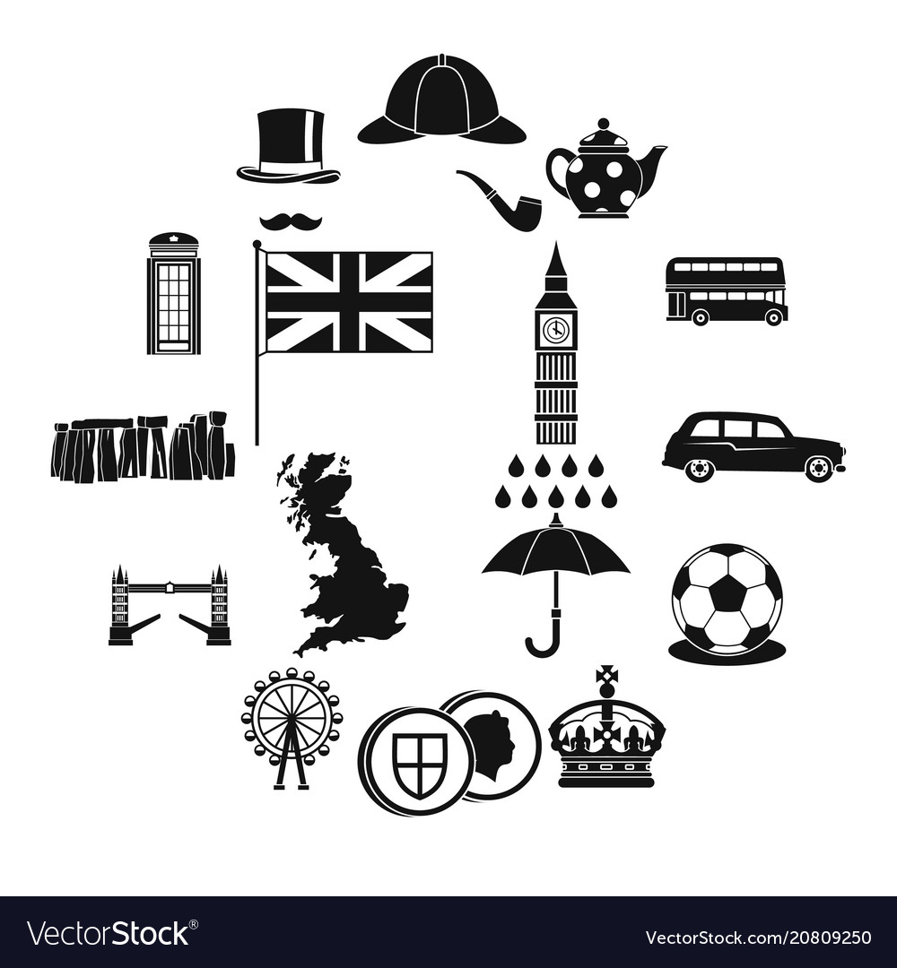 great britain icons set simple style royalty free vector
