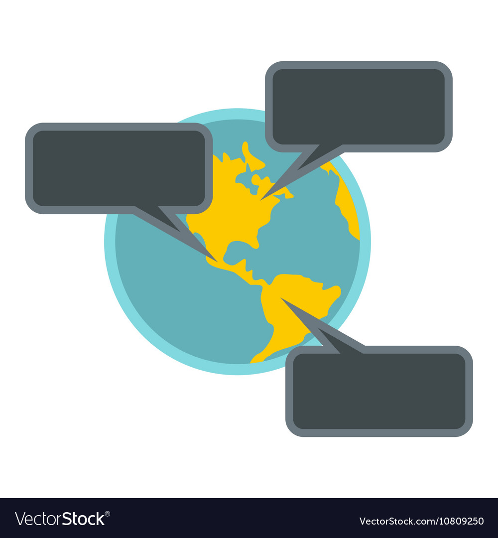Online chat around the world icon flat style vector image