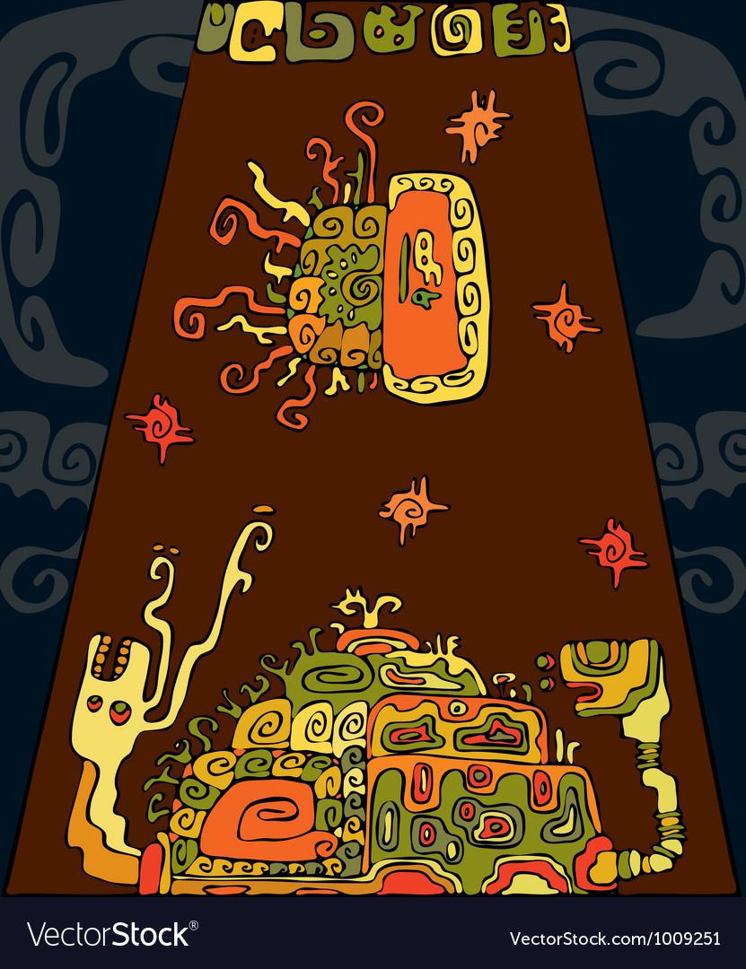 Ethnic Snail Tortoise Background vector image