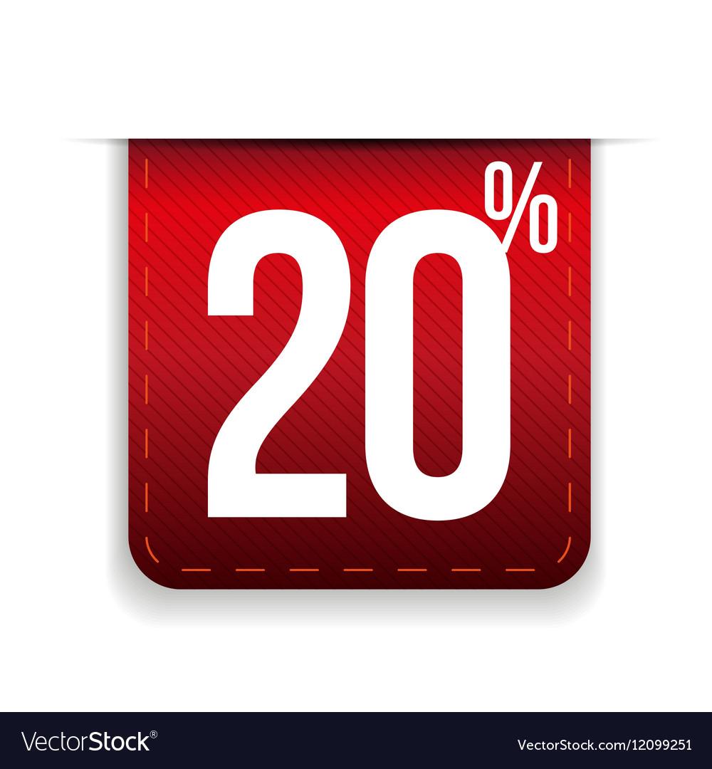 Twenty percent off ribbon red vector image