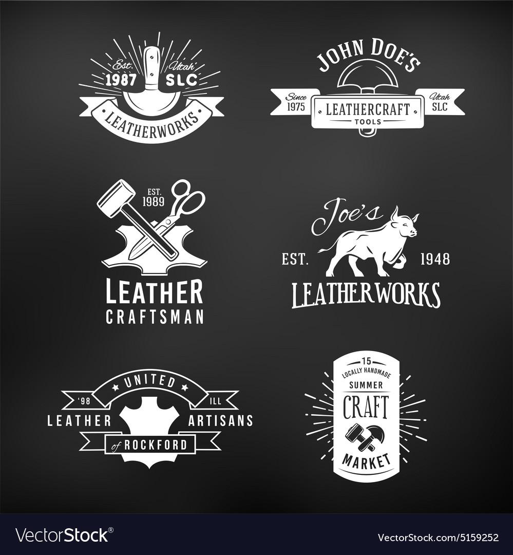 Set of vintage craft logo designs retro genuine vector image