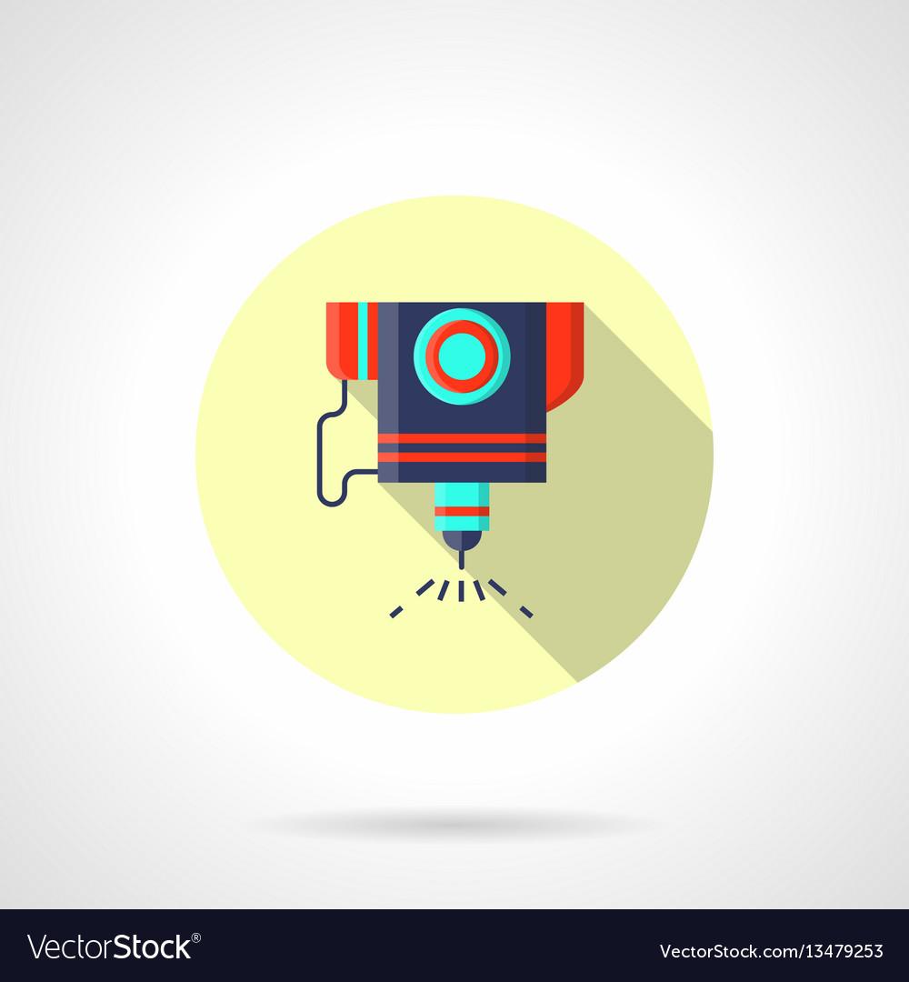 Laser engraver flat round icon vector image