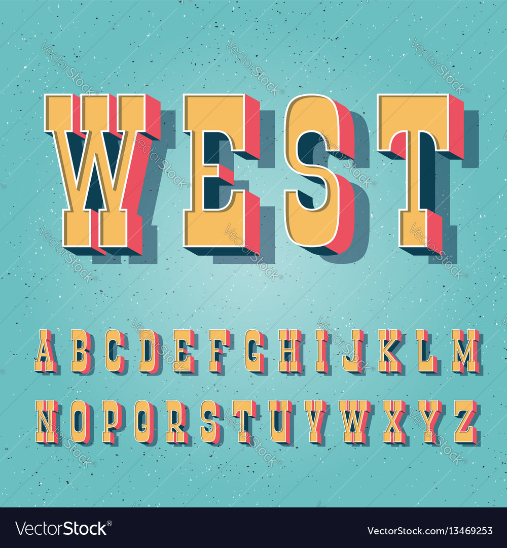 Serif bold vintage poster font vector image
