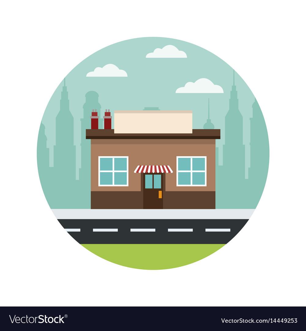 Store building market shop facade urban background vector image