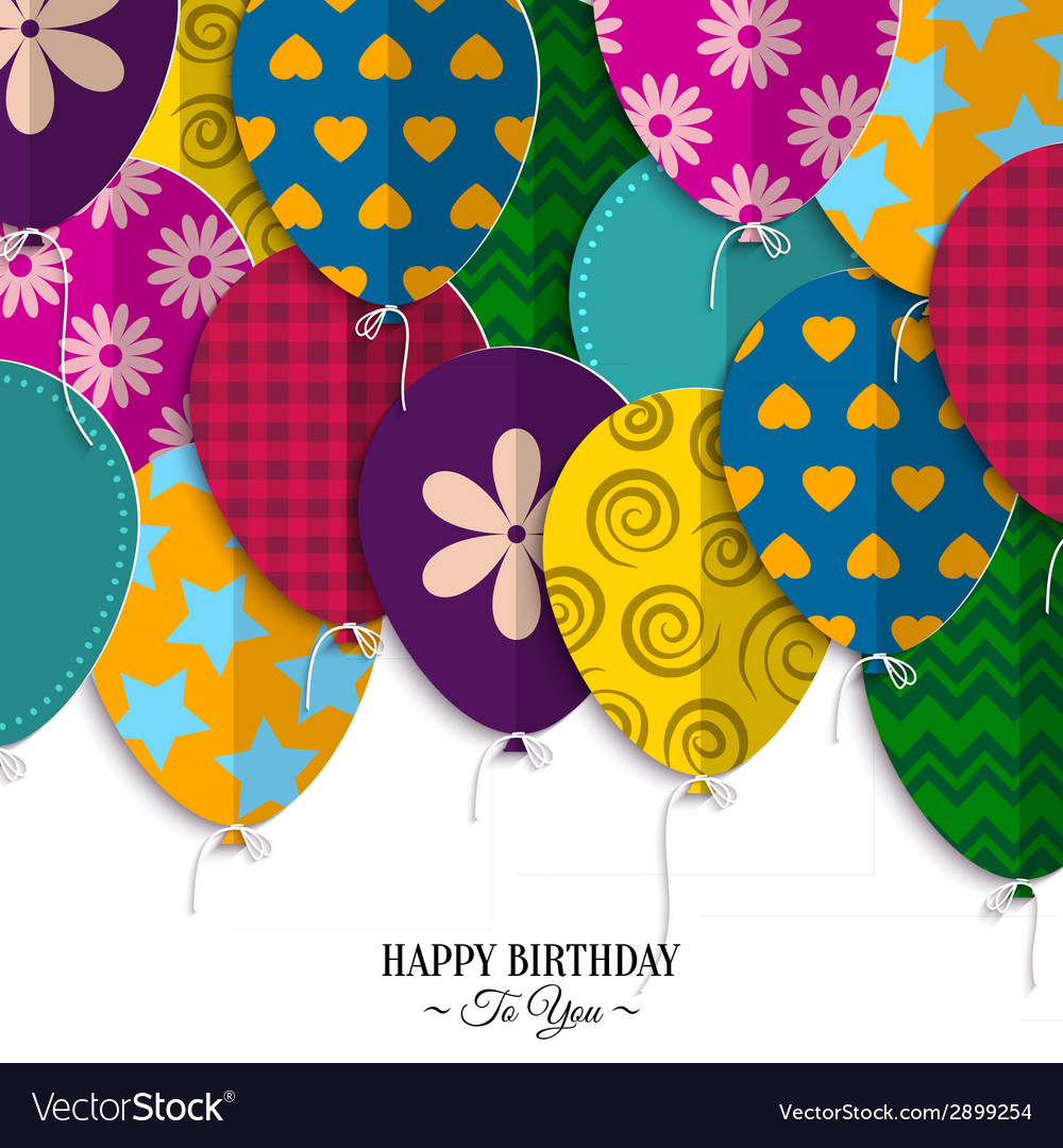 Birthday card with paper balloons and birthday vector image