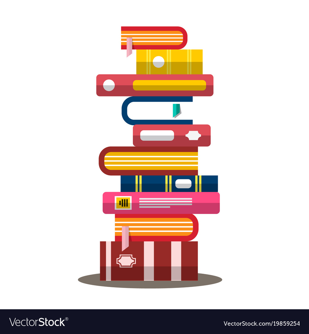 Book flat design heap pile of books vector image