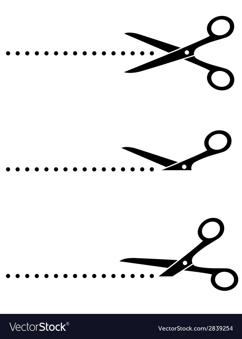 Scissors icon with cut line vector image