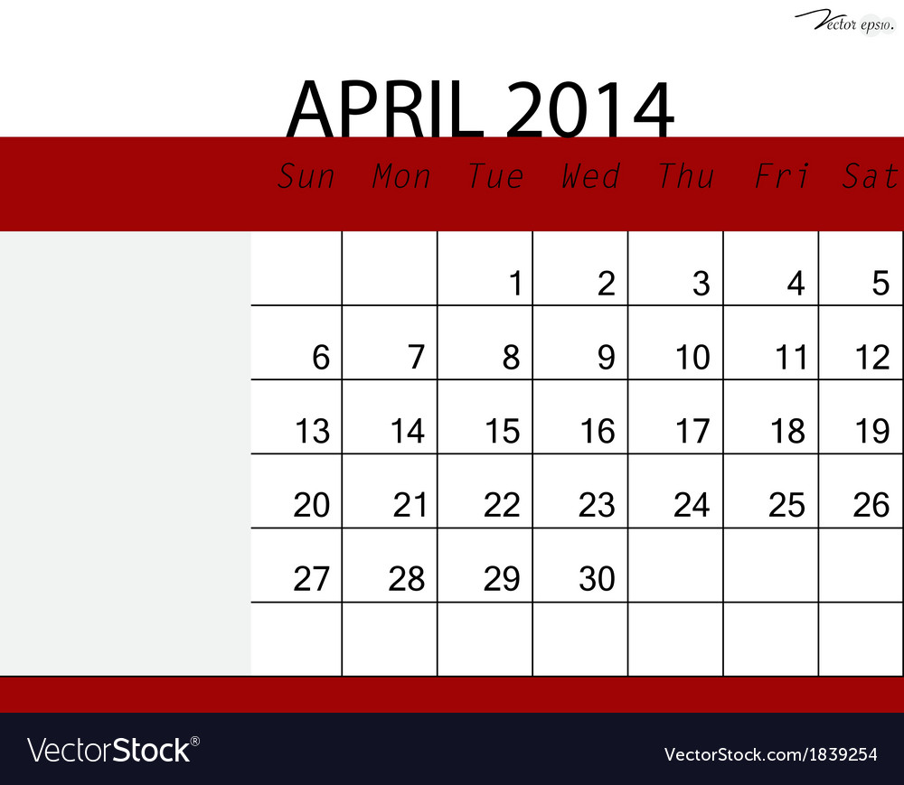 Calendar April Vector : Simple calendar april royalty free vector image