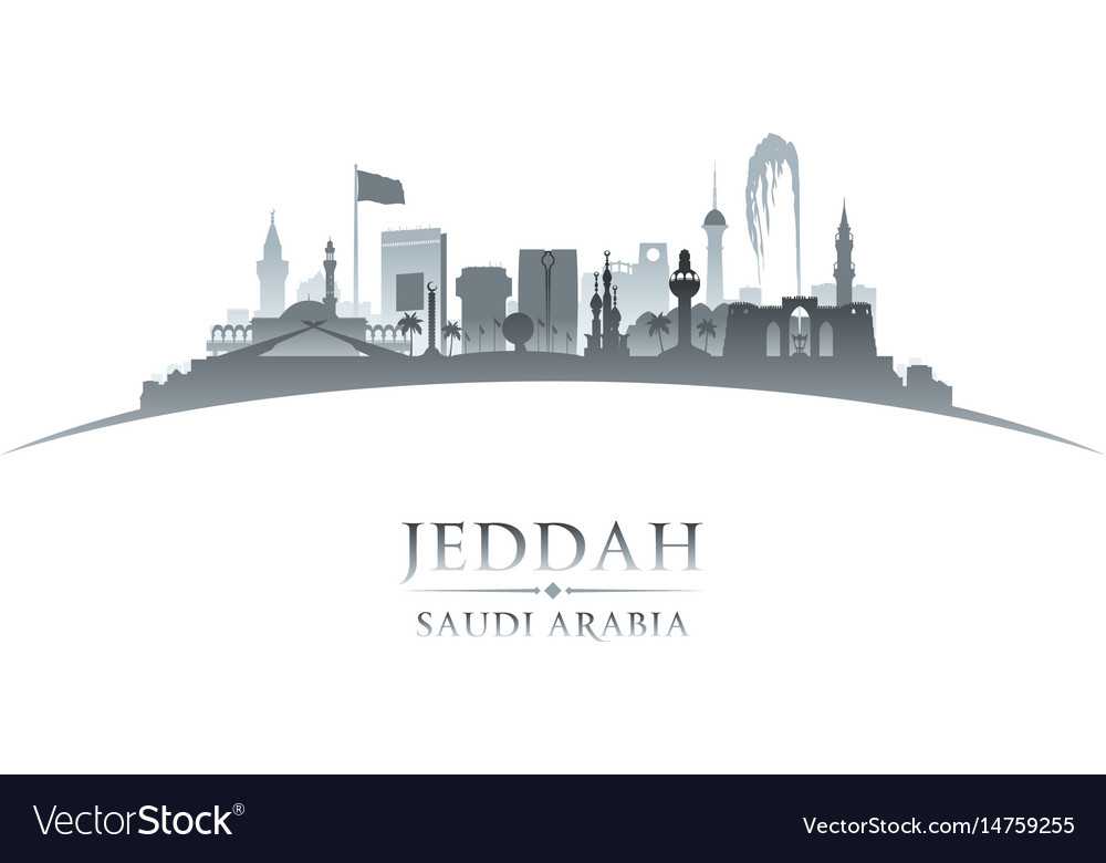 Jeddah saudi arabia city skyline silhouette white vector image