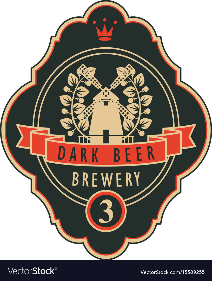 Labels for the brewery or beer with a windmill vector image