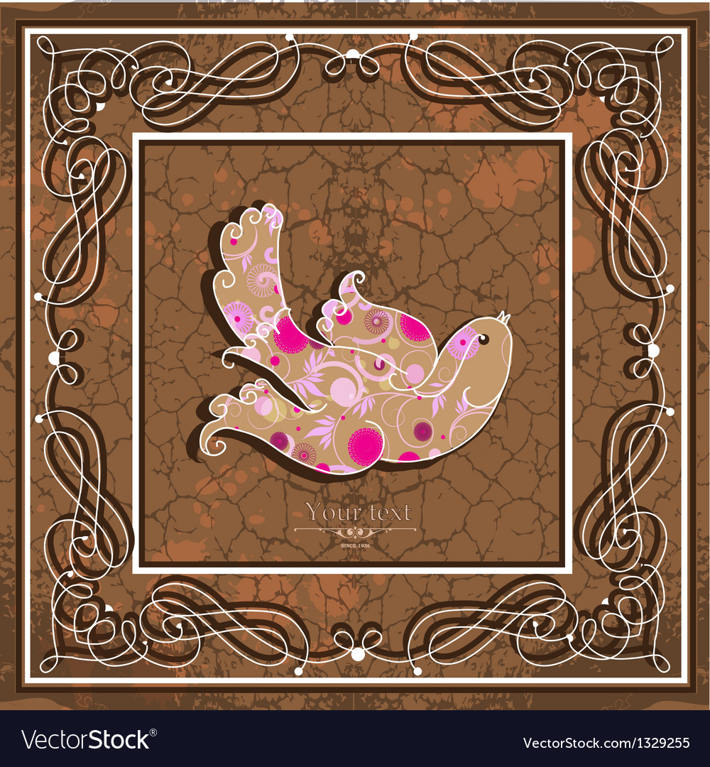 Ornamental bird on grunge background vector image