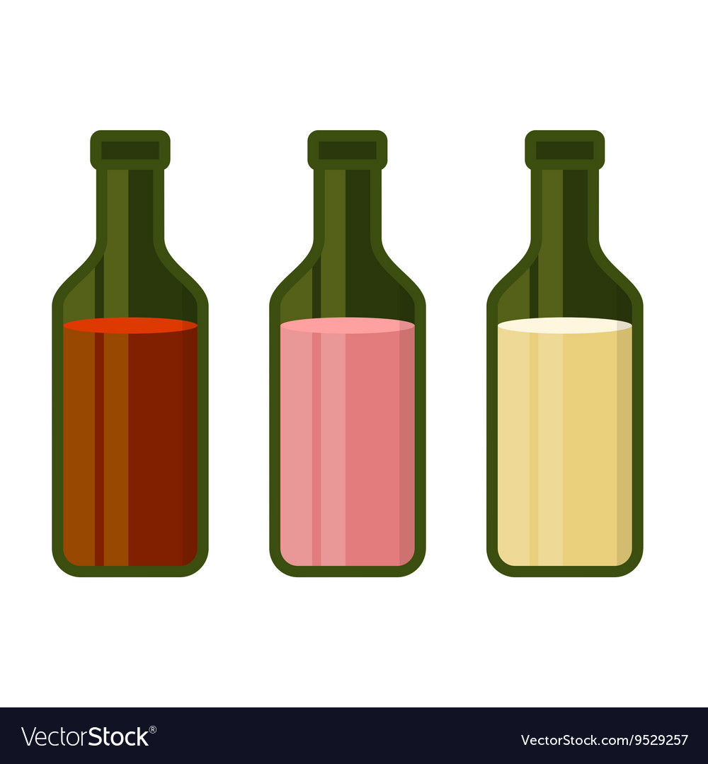 Colors Wine Bottles Set on White Background vector image