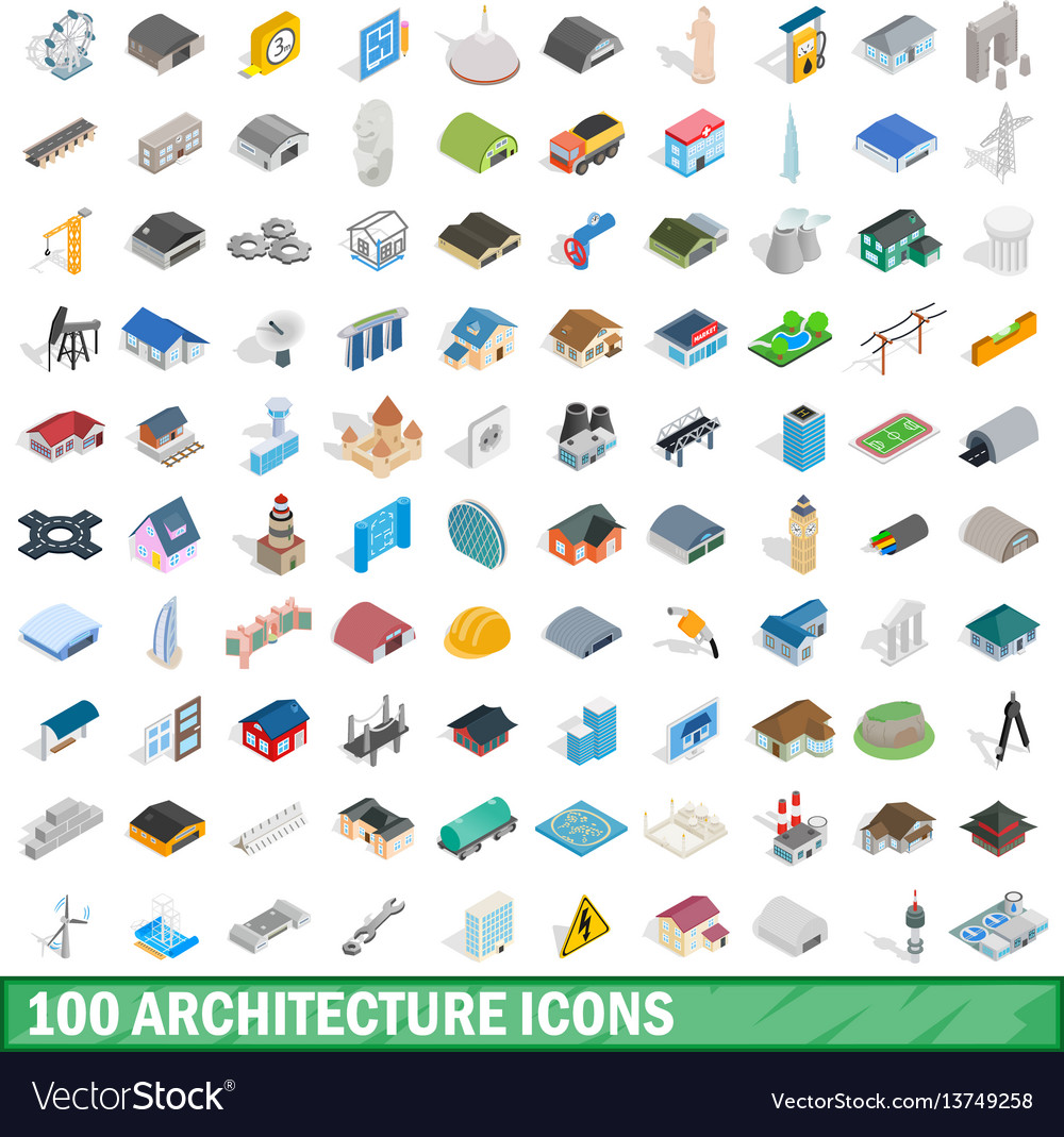 100 architecture icons set isometric 3d style vector image