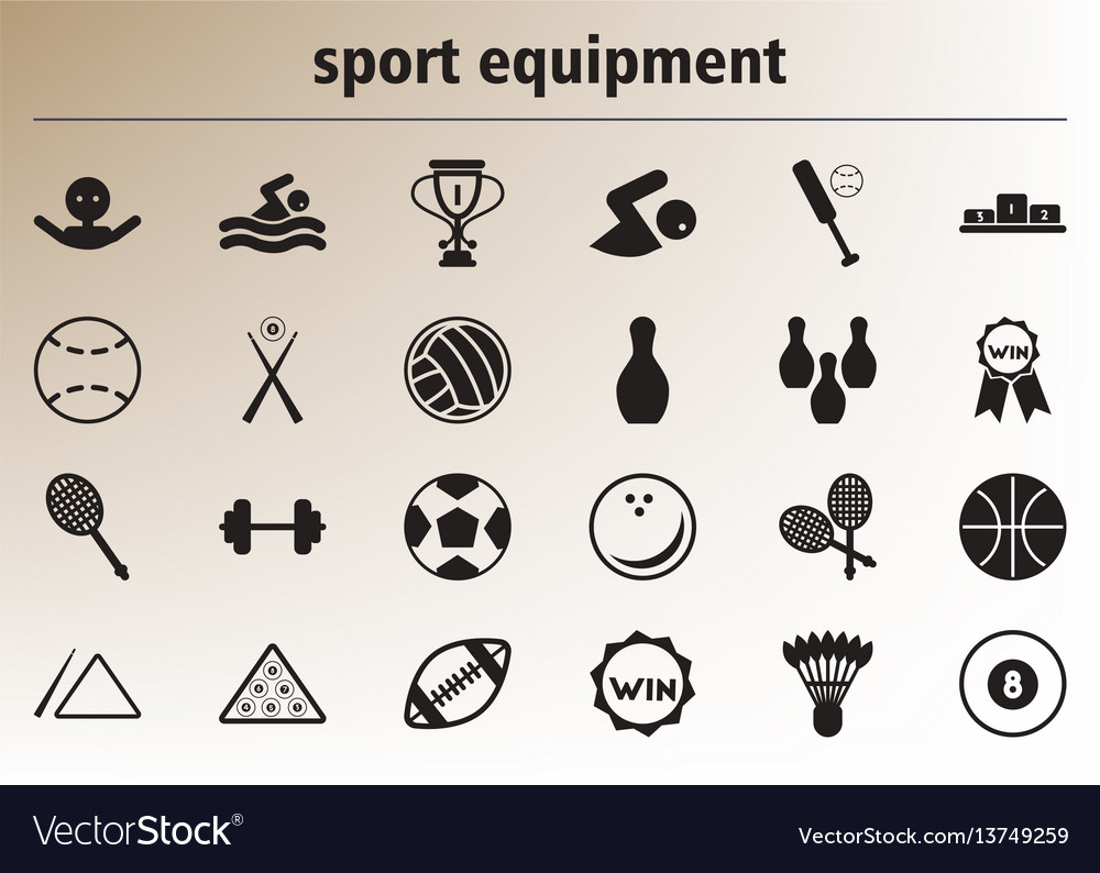 Collection of stylish icons sport equipment