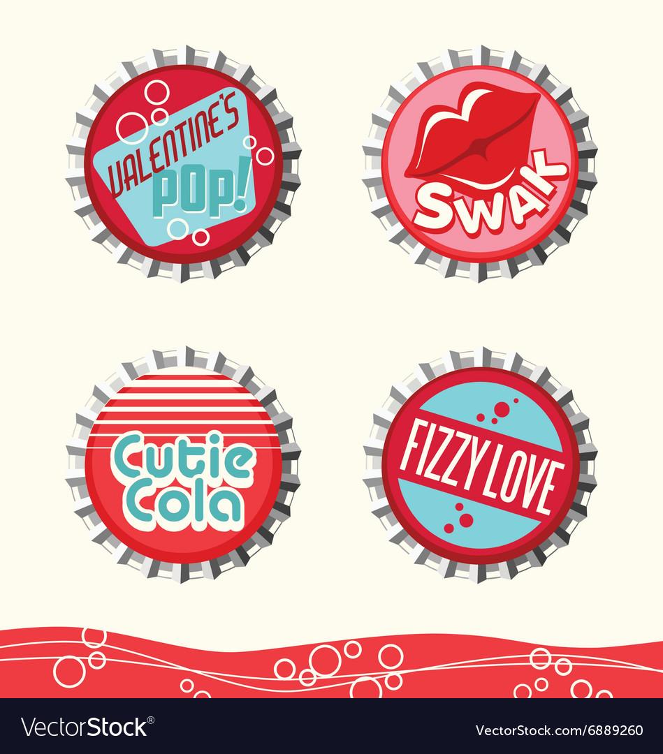 Valentine bottle caps 1 vector image