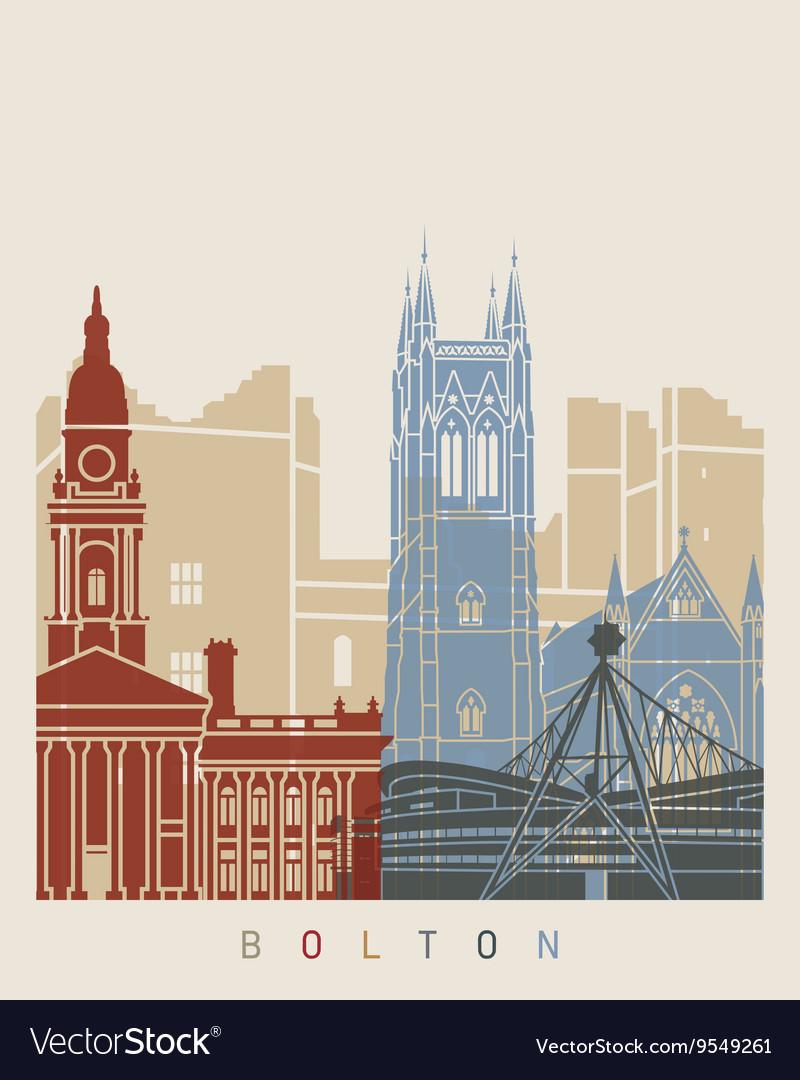 Bolton skyline poster vector image