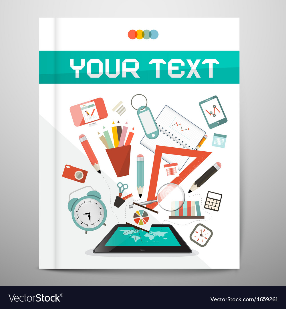Book - Brochure - Leaflet Layout with School Items vector image