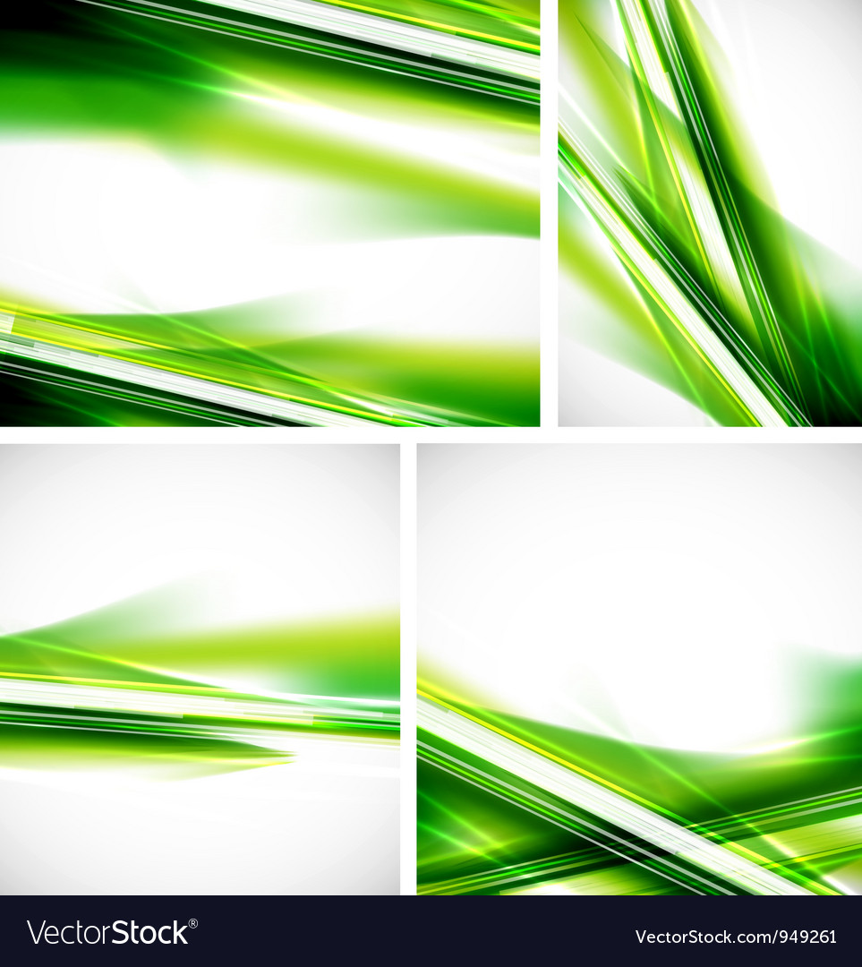 Green lines background set vector image