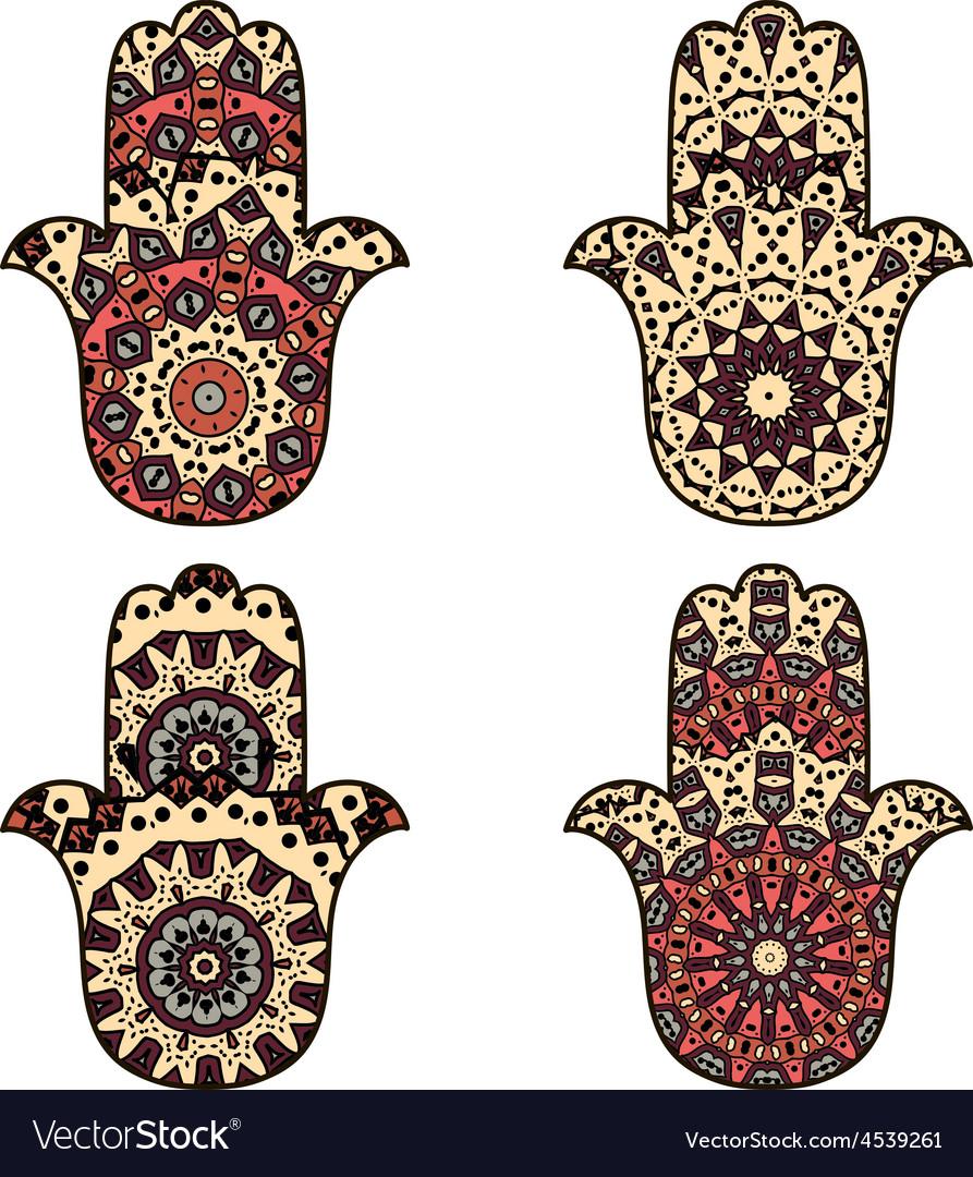 Set of beige orange hamsa vector image