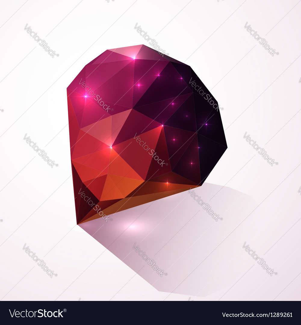 Shining dark pink crystal vector image