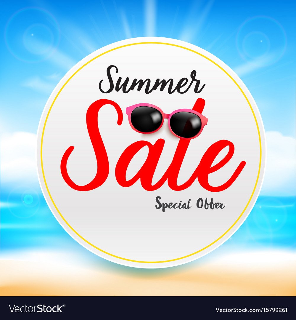 Summer sale titile text on white circle frame vector image