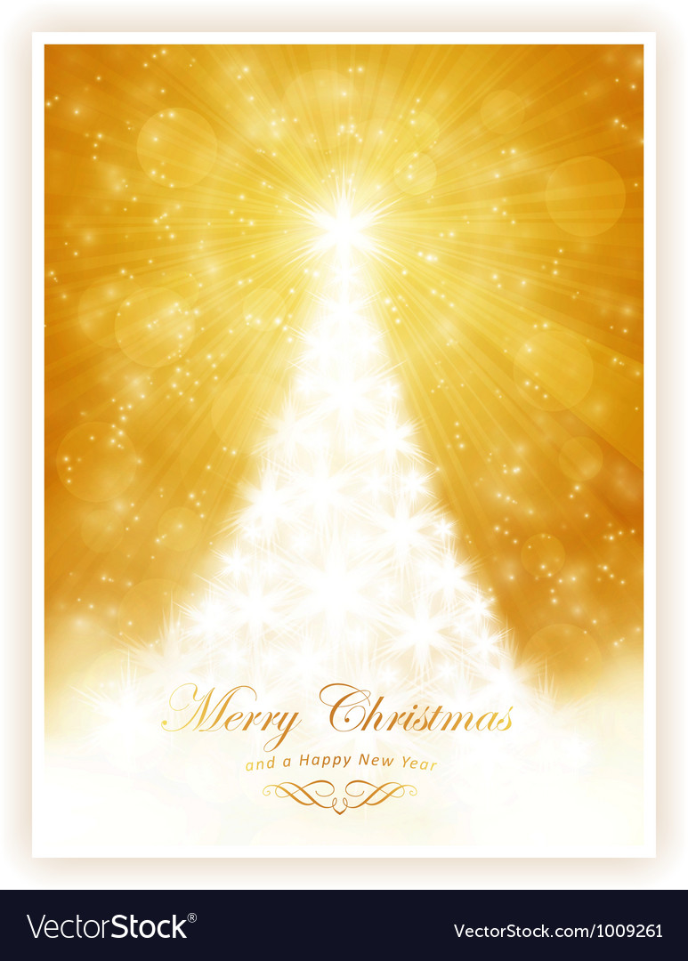 White shiny Christmas tree on sparkling golden bac vector image