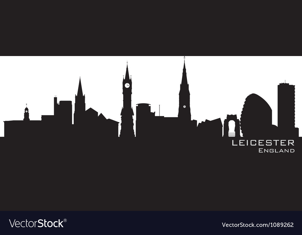 Leicester England skyline Detailed silhouette vector image