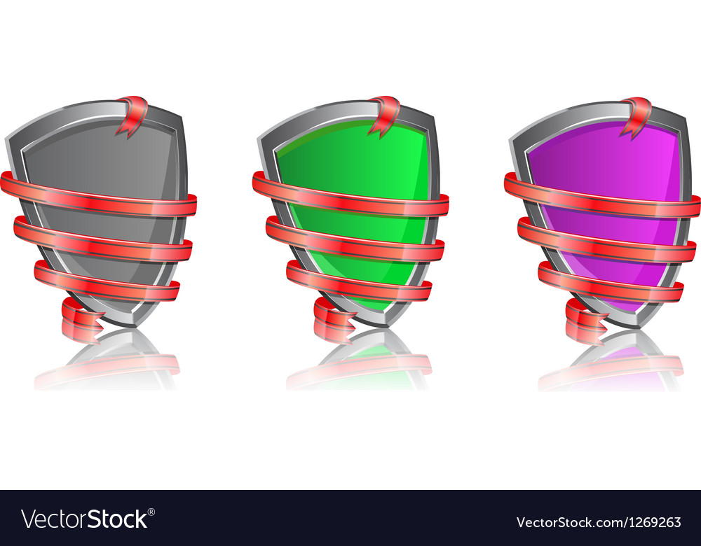 Shiny shield wrapped in ribbon icon set vector image