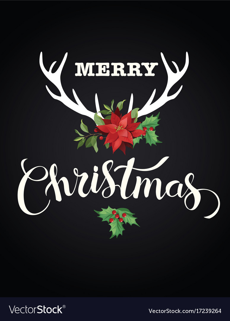 Christmas composition deer horns red poinsettia vector image