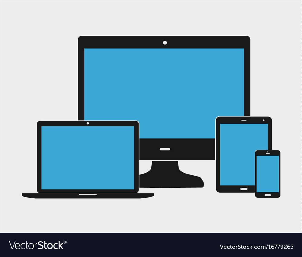 Flat black electronic devices vector image