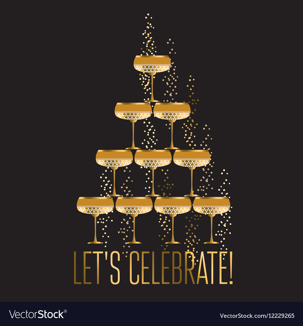 Gold sparkling champagne glass pyramid flat on vector image