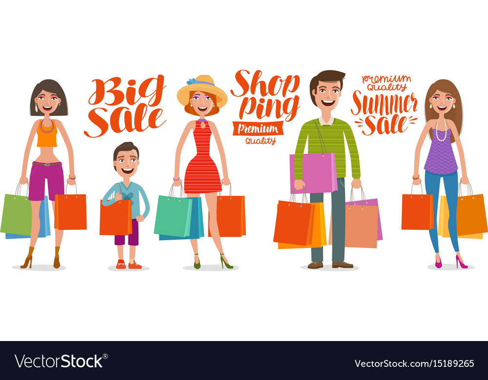 Shop fashion sale concept people man and woman vector image