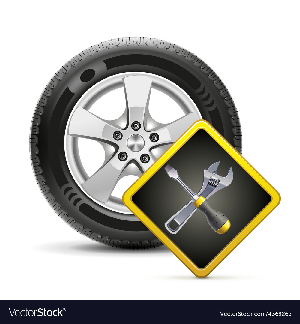 Wheel and sign vector image