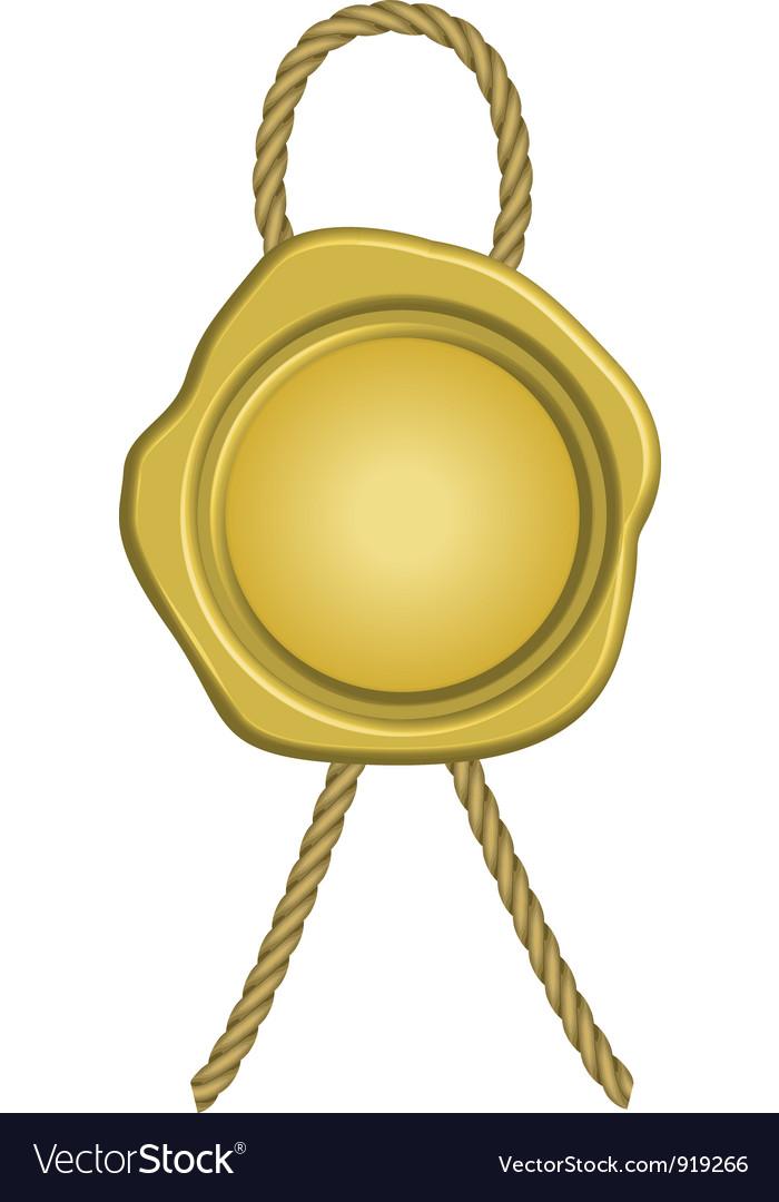 Golden wax seal vector image