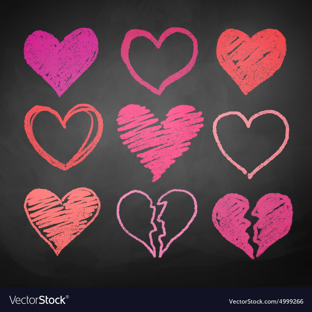 Chalk drawn hearts vector image