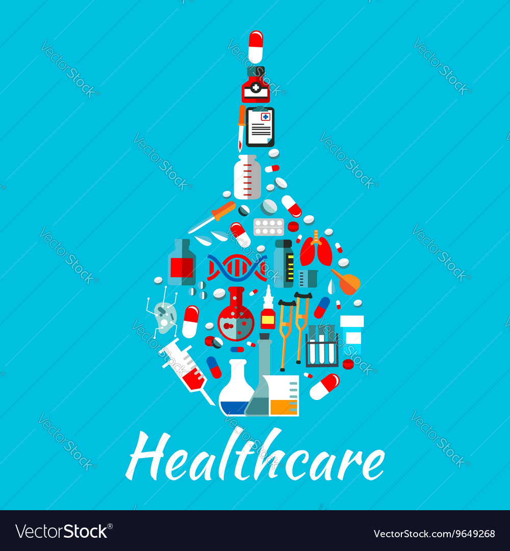 Medical enema symbol with healthcare flat icons vector image