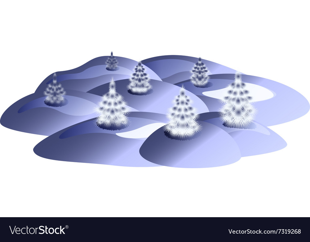 Winter landscape with Christmas trees and snow vector image