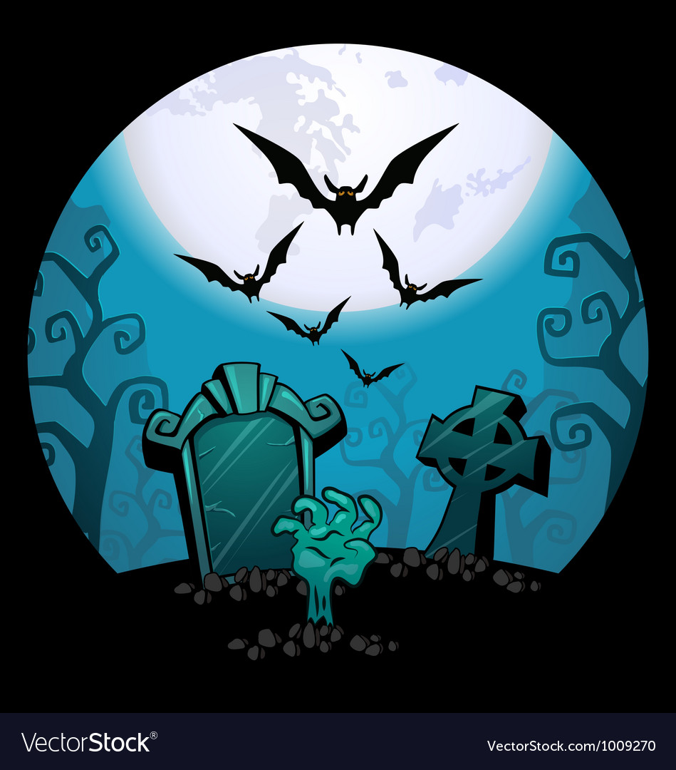 Creepy zombie hand and grave Halloween Royalty Free Vector