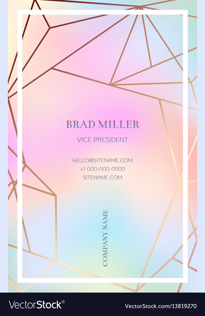 Pink business card with a geometric pattern vector image