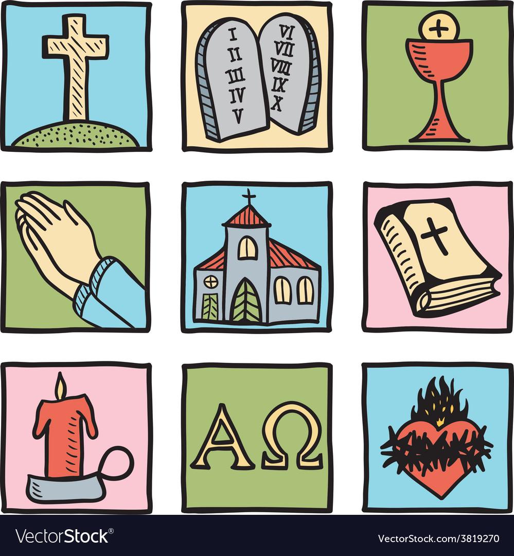 Set of christianity symbols vector image