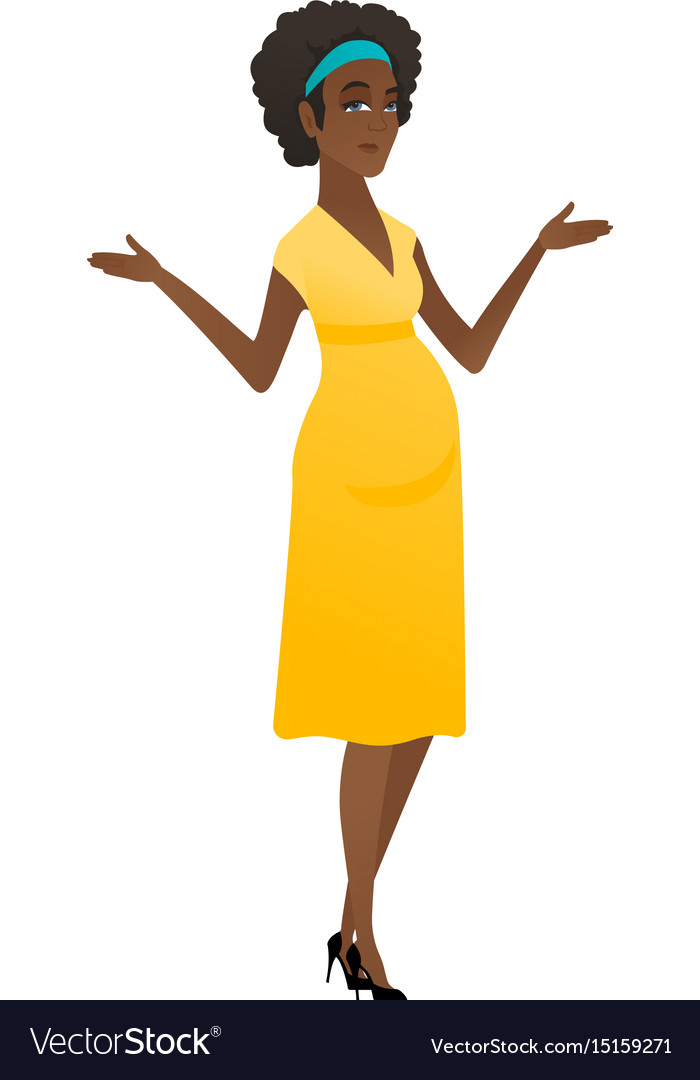 African confused pregnant woman with spread arms vector image
