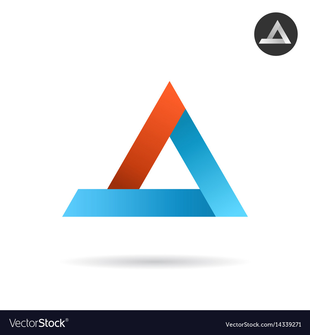 Delta arrow logo in ribbon style vector image